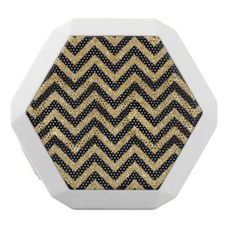 Black Gold Glitter Zigzag Stripes Chevron Pattern White Bluetooth Speaker