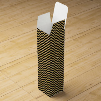 Black Gold Glitter Zigzag Stripes Chevron Pattern Wine Box