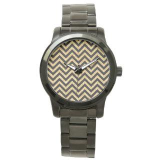 Black Gold Glitter Zigzag Stripes Chevron Pattern Wristwatch