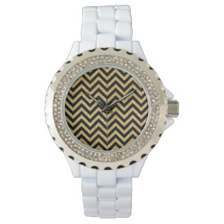 Black Gold Glitter Zigzag Stripes Chevron Pattern Wristwatch
