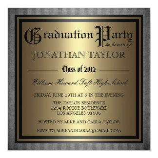"""Black Gold Graduation 5.25"""" Square Invitation Card"""