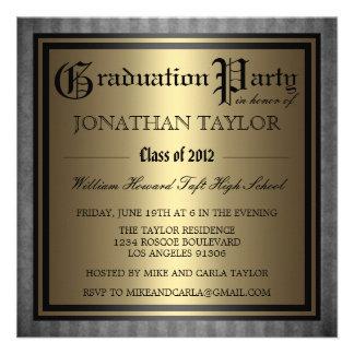 Black Gold Graduation Custom Invitations