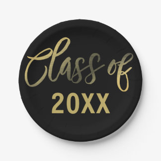 Black Gold Graduation Year Party Paper Plate
