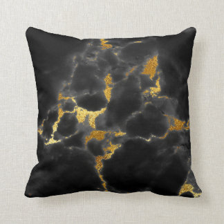 Black Gold Gray Marble Stone Glam Throw Pillow