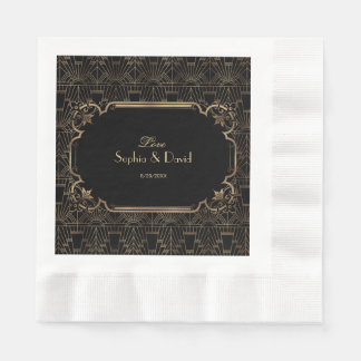 Black Gold Great Gatsby Art Deco 1920s Wedding Paper Napkins