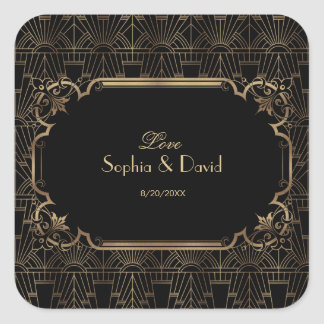 Black Gold Great Gatsby Art Deco 1920s Wedding Square Sticker