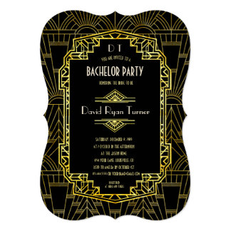 Black & Gold Great Gatsby Art Deco Bachelor Party Card