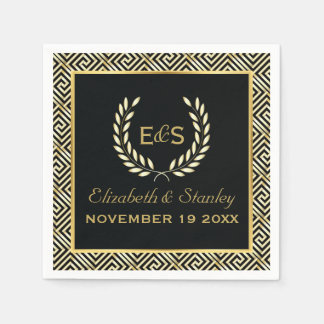 Black, gold Greek key and laurel wreath wedding Paper Napkin