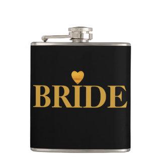 Black Gold Heart Bride Hip Flask