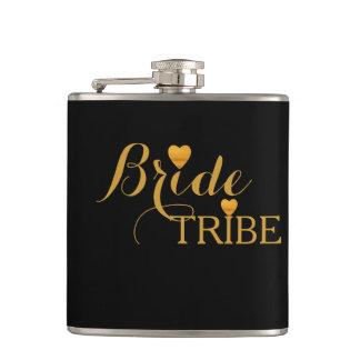 Black Gold Heart Bride Tribe Hip Flask