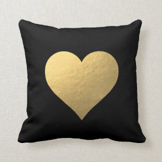 Black Gold Heart Pillow