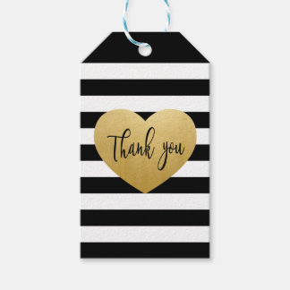 Black & Gold Heart Thank You Tag