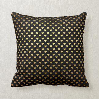 Black Gold Hearts Confetto Art Deco Throw Pillow