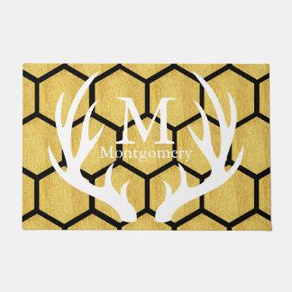 Black & Gold Hexagons Deer Antlers Family Name Doormat