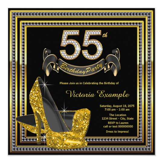 Black Gold High Heel Womans 55th Birthday Party Invitation