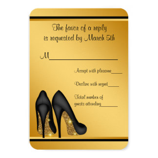 Black Gold High Heels RSVP Card