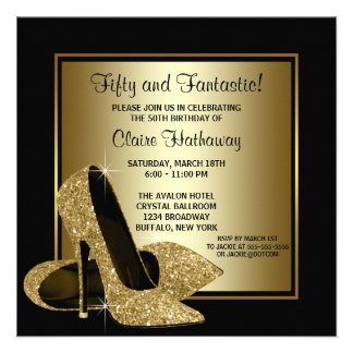 Black Gold High Heels Womans Brithday Party Announcement