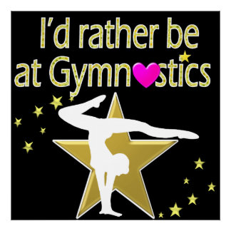 BLACK & GOLD I LOVE GYMNASTICS DESIGN POSTER