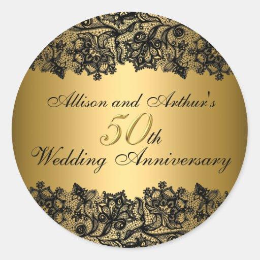 Black & Gold Lace 50th Anniversary Sticker