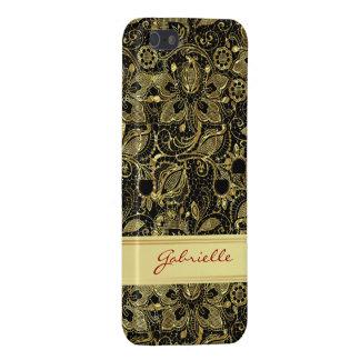 Black & Gold Leaf Look Vintage Floral Lace iPhone 5/5S Cover