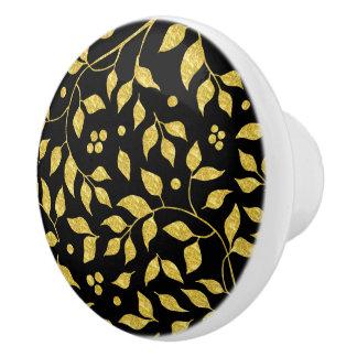 Black & Gold Leafs Pattern Ceramic Knob