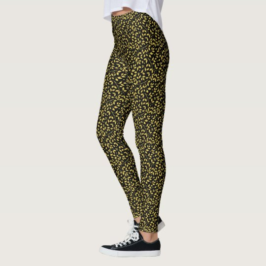 Black & Gold Leafs Seamless Pattern Leggings