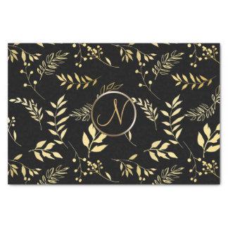 Black Gold Leaves Chic Monogram Letter Initial Tissue Paper