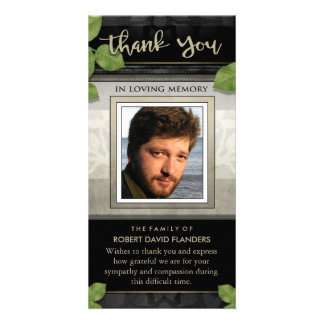 Black Gold Leaves Photo Custom Thank You Card Photo Card