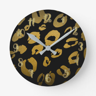 Black & Gold Leopard Cheetah Animal Print Round Clock