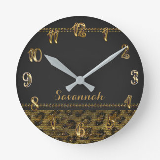 Black & Gold Leopard Cheetah Sequin Glitter Round Clock