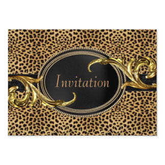 Black Gold Leopard Party Card