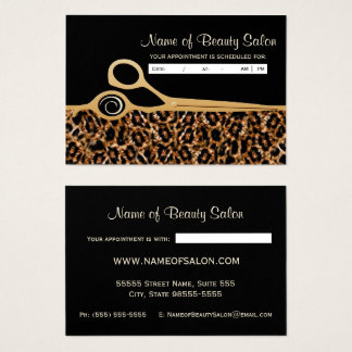 Black Gold Leopard Salon Appointment Reminder Business Card