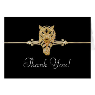 Black Gold Leopard Thank You Cards