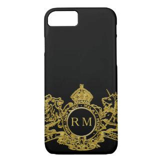 Black Gold Lion Unicorn Crown Emblem Monogram iPhone 8/7 Case