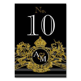 Black Gold Lion Unicorn Regal Emblem Monogram Card