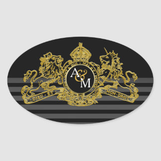 Black Gold Lion Unicorn Regal Emblem Monogram Oval Sticker