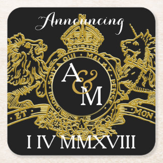 Black Gold Lion Unicorn Regal Emblem Save The Date Square Paper Coaster