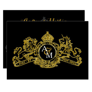 Black Gold Lion Unicorn Regal Emblem Wedding Card