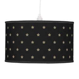 Black Gold Look Stars Pattern Festive Elegant Pendant Lamp