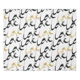 Black & Gold Love Duvet Cover