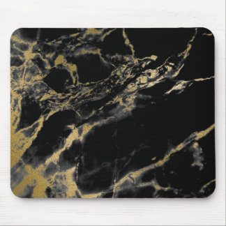 Black Gold Marble Mouse Pad