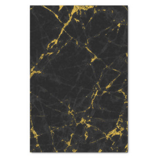 Black & Gold Marble Texture Print Tissue Paper