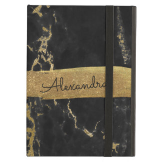 Black & Gold Marble with Gold Foil and Glitter Cover For iPad Air