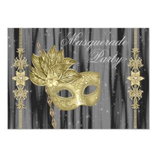 Black Gold Masquerade Party Card