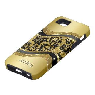 Black & Gold Metallic Look Floral Damasks iPhone 5 Cover