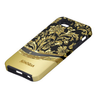 Black & Gold Metallic Look With Damasks Case For The iPhone 5