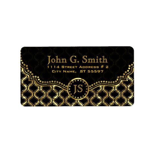 Black & Gold Metallic Quatrefoil Pattern Label