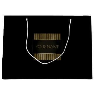 Black Gold Minimal Name Luxury Branding Beauty Large Gift Bag