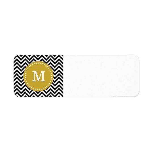 Black & Gold Modern Chevron Custom Monogram