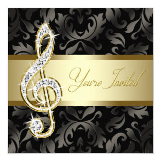 Black Gold Music Treble Clef Recital Card